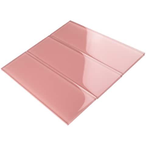 "TileGen. 4"" x 12"" Glass Subway Tile in Pink Wall Tile (30 tiles/10sqft.)"
