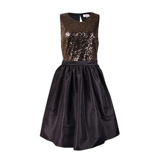 Calvin Klein Women's Sequined Sleeveless Taffeta Dress - Gold/Black