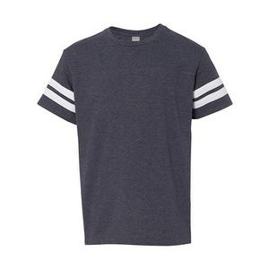 Youth Football Fine Jersey Tee - Vintage Navy/ White - L