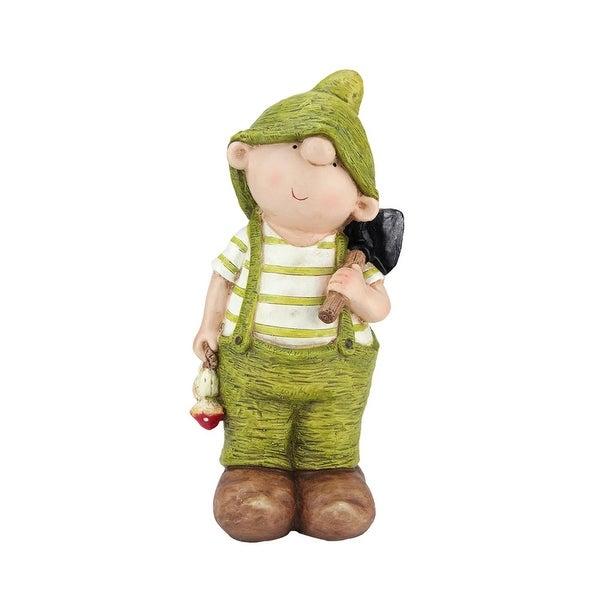 """23"""" Young Boy Gnome with Shovel Spring Outdoor Garden Patio Figure"""