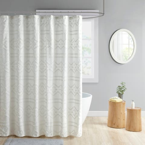 Intelligent Design Whitney Clipped Jacquard Seersucker Shower Curtain