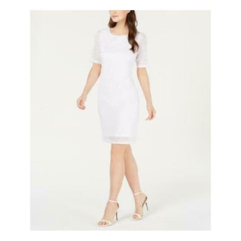 ALFANI Womens White 3/4 Sleeve Knee Length Shift Party Dress Size L