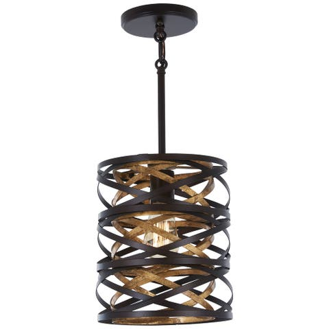 Minka Lavery Vortic Flow 1-Light Dark Bronze W/Mosaic Gold Inte Mini Pendant