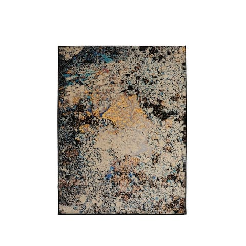 LoomBloom Persian Polypropylene Brezel Modern & Contemporary Oriental Area Rug Tan, Black Color