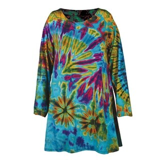 Women's Tunic Top - Tie-Dye Long Sleeve Printed Blouse