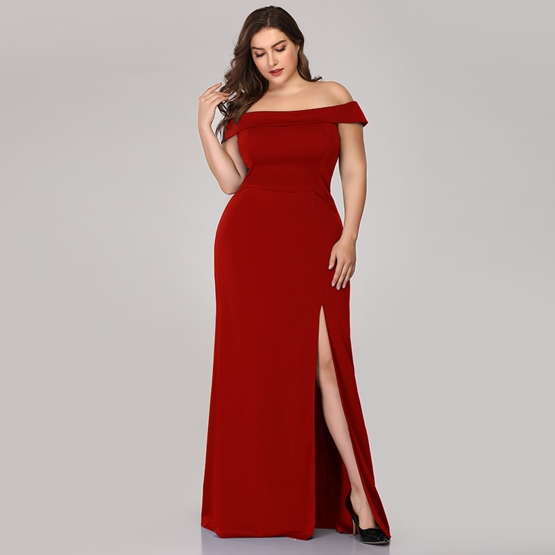 Ever-Pretty Womens Off Shoulder Bodycon Plus Size Evening Party Maxi Dress  07952