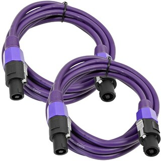 SEISMIC AUDIO Pair of 12 Gauge 10' Purple Speakon to Speakon Speaker Cables 10'