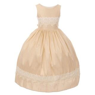 Girls Champagne Dupioni Crochet Lace Elegant Junior Bridesmaid Dress 8-12