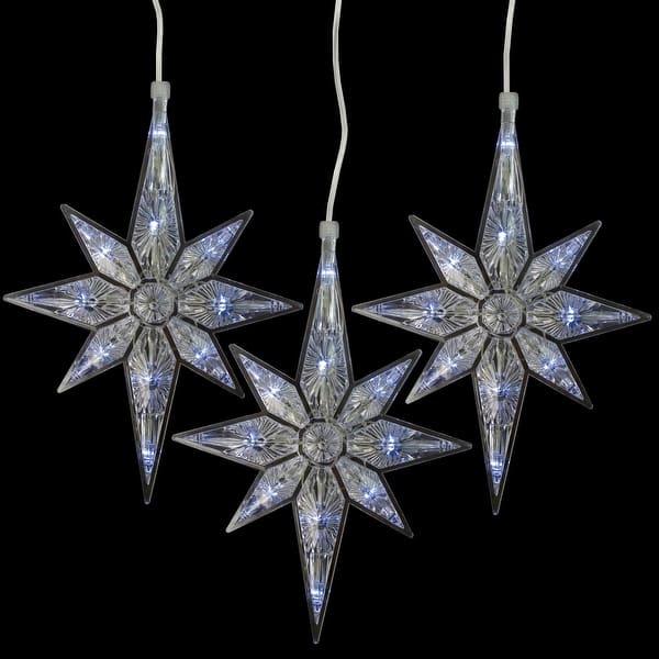 Shop Set Of 5 Bethlehem Star Cool White Led Christmas Lights Overstock 29439626
