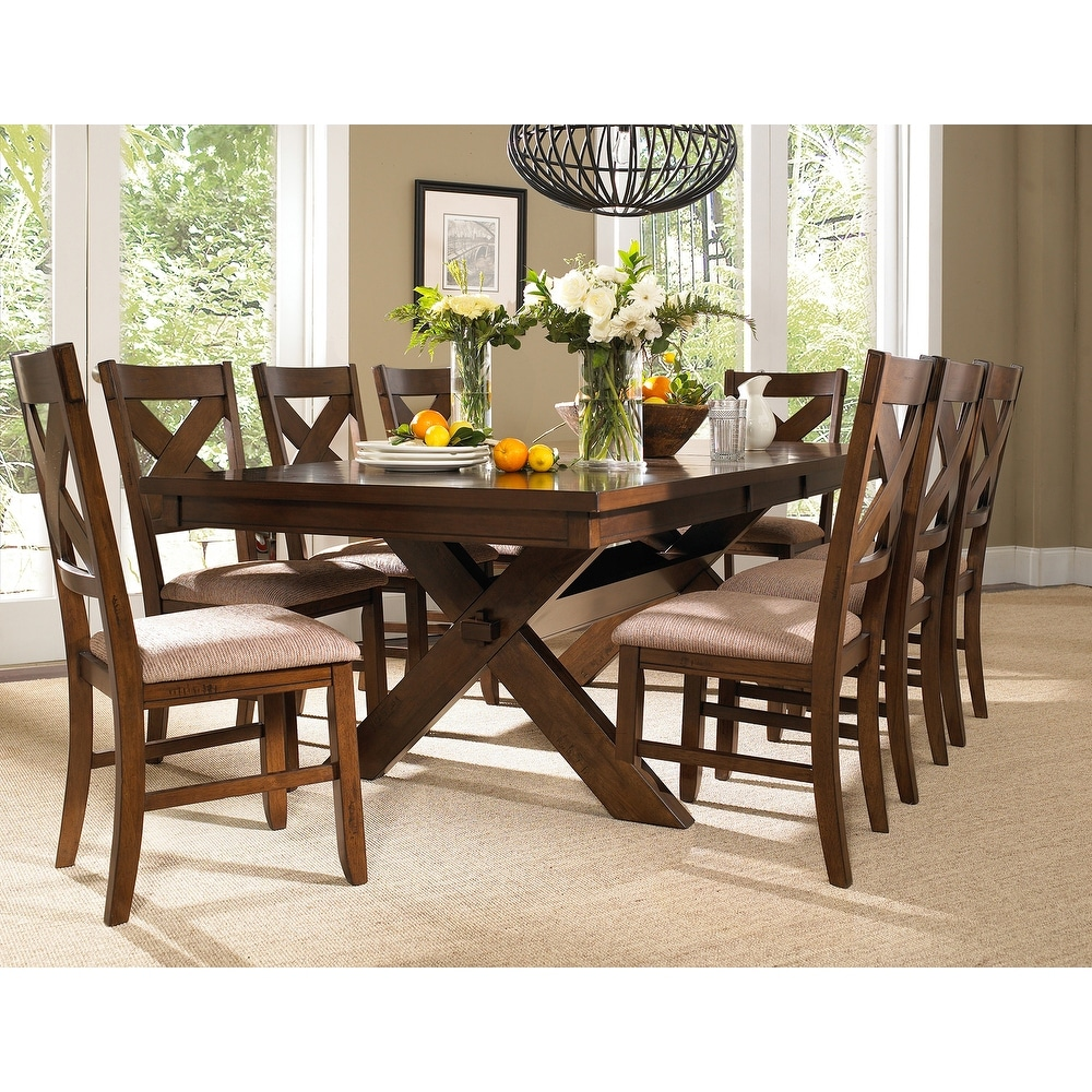 9-piece Solid Wood Dining Set with Butterfly Leaf