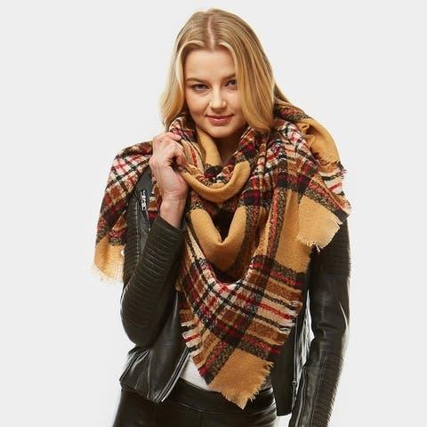Amtal Women Multi Color Plaid Check Winter Blanket Square Scarf