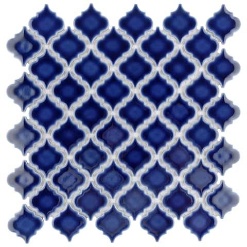 "SomerTile Hudson Tangier Smoky Blue 12.38"" x 12.5"" Porcelain Mosaic Tile"