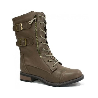 Bamboo Women's Battle-02 Combat Boots - taupe