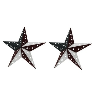 Patriotic Red White and Blue Barn Star 2 Piece Indoor/Outdoor Wall Hanging Set