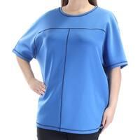 ANNE KLEIN Womens Blue Short Sleeve Crew Neck Top  Size: XL