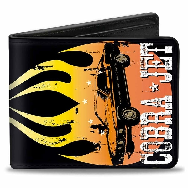 Mustang Flame Cobra Jet Black Yellow Red Fade White Bi Fold Wallet - One Size Fits most
