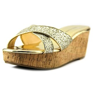 Marc Fisher Cilla 2 Women Open Toe Synthetic Gold Wedge Sandal