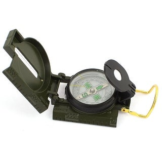 Unique Bargains Hiking Camping Army Green Round Dial Foldable Pocket Compass