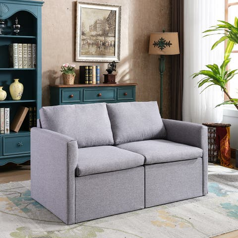 2-seat Sofa Couch with Modern Linen Fabric for Living Room