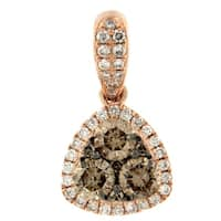 Prism Jewel 0.63CT G-H/SI1 Brown Diamond with Natural Diamond Triangle Shape Pendant, 14k Rose Gold - White