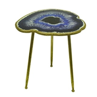 RTS-Blue Agate Geode Design Faux Gold Leaf Finish Decorative Accent Table 24 In, - Blue