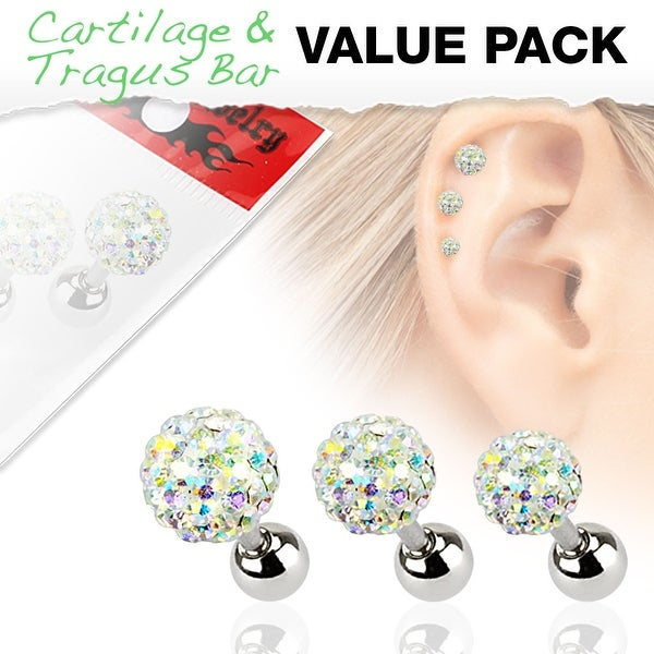 3 Pcs Value Pack of Assorted 316L Tragus Bar with Aurora Borealis Ferido Ball