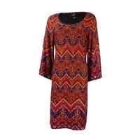Ronnie Nicole Women's Printed Round Neck Shift Dress - Red/Purple