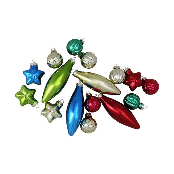 "16-Piece Set of Multi-Color Finial, Ball and Star Shaped Christmas Ornaments 4"" (100mm)"