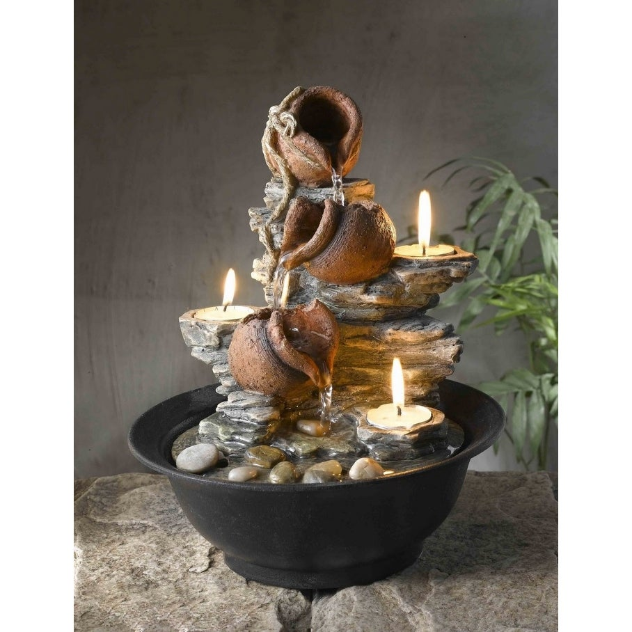 Shop 11 Mini Pitchers And Rocks Indoor Table Top Water Fountain With Tea Light Candles Brown Overstock 20761213