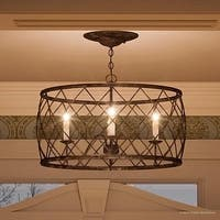 """Luxury French Country Chandelier, 14.5""""H x 21.5""""W, with Shabby Chic Style, Gold Accented Silver Leaf Finish"""