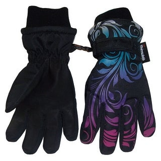 NICE CAPS Girls Ombre Shaded Scroll Print Waterproof Snow Gloves - black/silver neon/neon blue/neon purple/neon pink