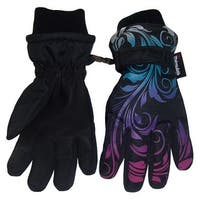 NICE CAPS Girls Ombre Shaded Scroll Print Waterproof Snow Gloves - black/silver neon/neon blue/neon purple/neon pink