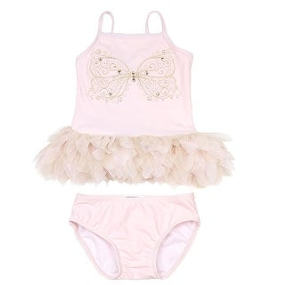 Kate Mack Little Girls Pink Butterfly Multi Ruffle 2 Pc Tankini Swimsuit