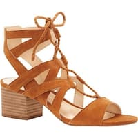 Vince Camuto Women's Fauna Ghillie Lace up Sandal Maple Brown True Suede
