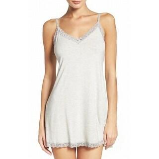 Natori NEW Gray Women's Size Medium M Lace-Trim Chemise Sleepwear