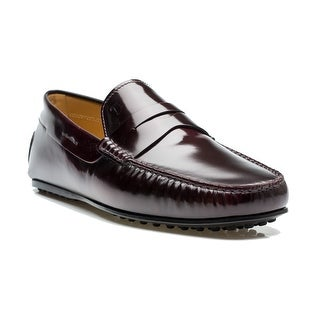 Tod's Men's Leather Mocassino City Gommino Loafer Shoes Burgundy
