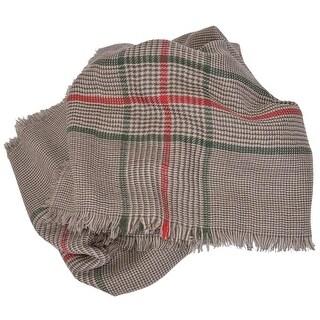 "Gucci 388168 Cotton Wool Silk Red Green Stripe Large Scarf 53"" x 53"""