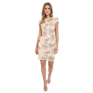 Calvin Klein Cap Sleeve Floral Pattern Sequin Sheath Cocktail Dress - 2
