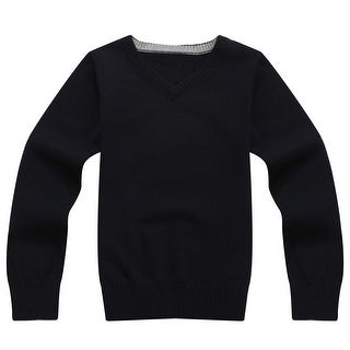 Richie House Boys' Solid Pullover with V-neck