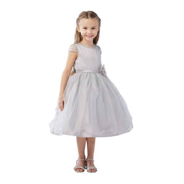 f074ce67db6e Shop Girls Silver Beaded Cap Sleeve Wire Hem Junior Bridesmaid Dress - Free  Shipping Today - Overstock - 21335559