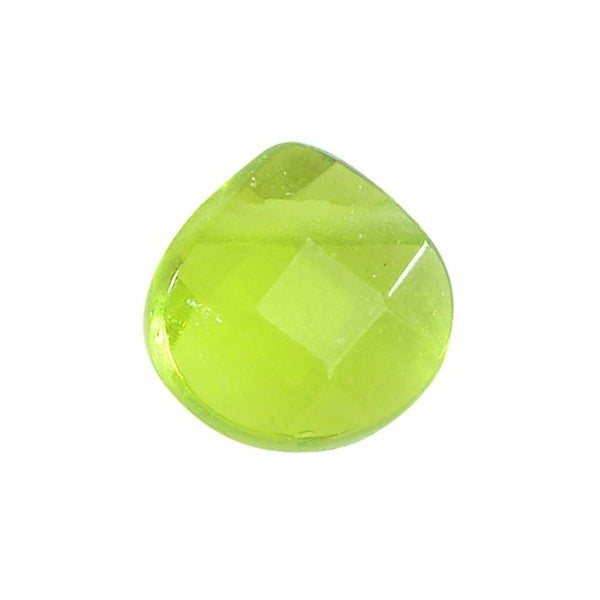 Glass Faceted Heart Cut Briolette Beads 8x8mm - Peridot Green (4)