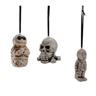 Set of 3 Decorative Skeleton Hanging Skull Ornaments