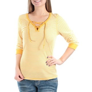 Womens Yellow Striped 3/4 Sleeve Zip Neck Tunic Top Size S