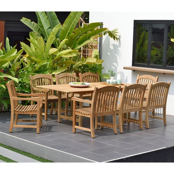 Tottenville Rectangular Extendable 9-piece Teak Dining Set by Havenside Home. Opens flyout.