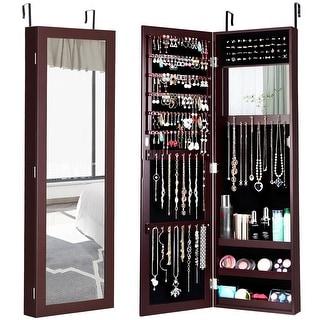 Costway Wall Door Mounted Mirrored Jewelry Cabinet Storage Organizer Brown