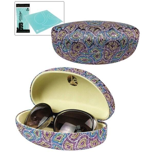 JAVOedge Blue and Purple Scale Pattern Fabric Clamshell Style Eyeglass / Sunglasses Case - blue / purple