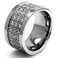 Stainless Steel Sparkling CZ Crusted Polished Edge Ring - Thumbnail 0