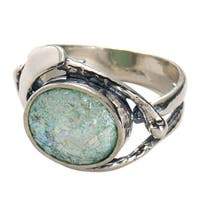 Women's Roman Glass Ring - Antique Glass Set in Sterling Silver