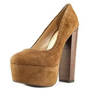 Jessica Simpson Capello Women Open Toe Suede Brown Platform Heel