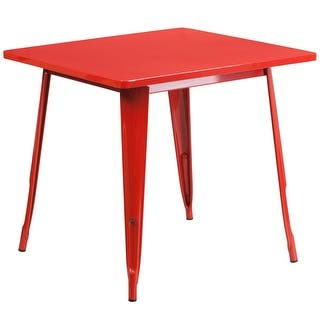 Brimmes Square 31.5'' Red Metal Table for Indoor/Outdoor/Patio/Bar/Restaurant|https://ak1.ostkcdn.com/images/products/is/images/direct/8b82331e29b16b206219e9b7837ad2be446f7ca8/Lenzburg-Square-31.5%27%27-Red-Metal-Table-for-Indoor-Outdoor-Patio-Bar-Restaurant.jpg?impolicy=medium